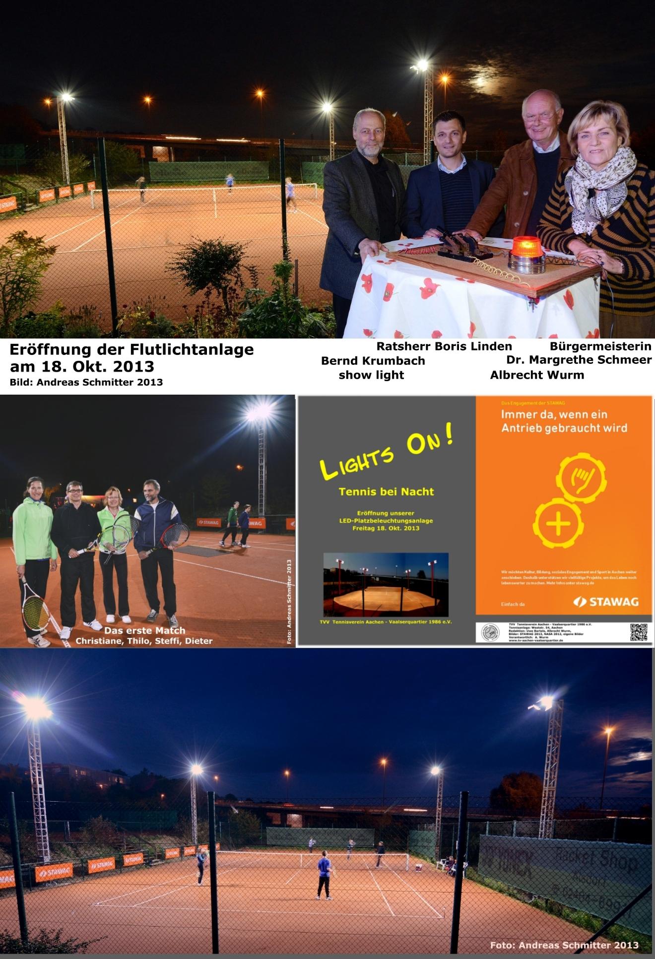 Collage zur Eröffnung der LED-Flutlichtanlage 2013