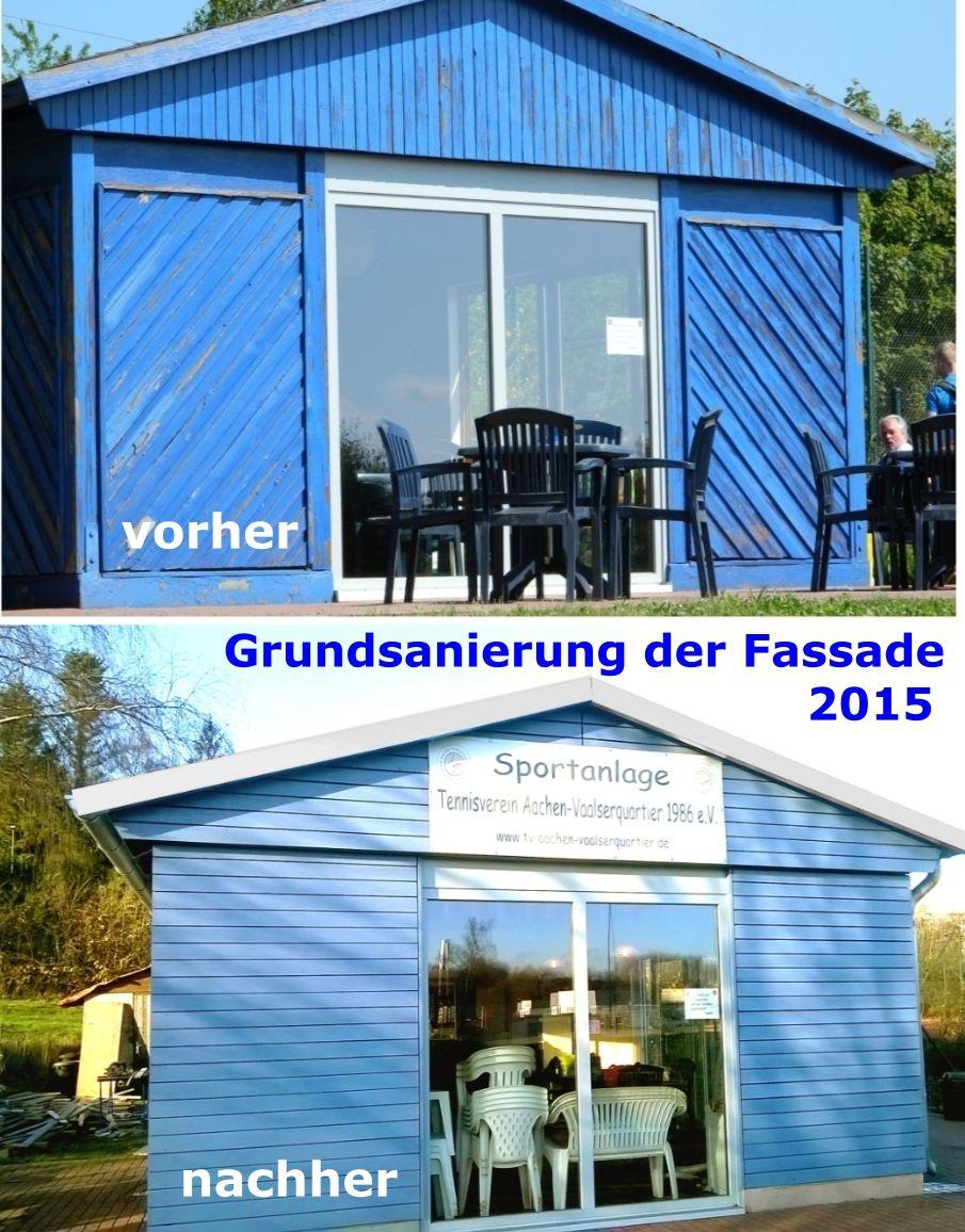 Grundsanierung der Außenfassade Clubhaus im Jahre 2015