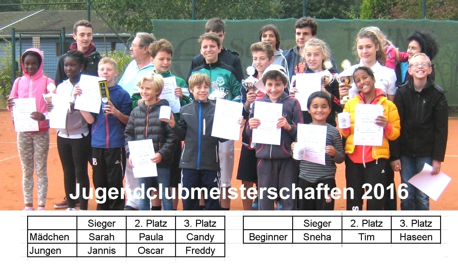 Die Clubmeisterschaften der Jugend 2016