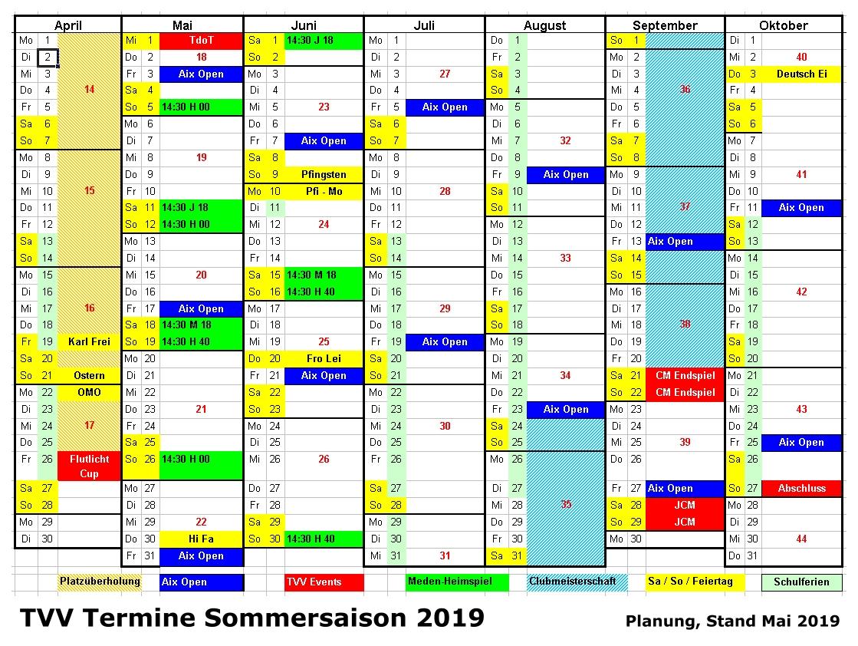 Termine 2019 im Tennisverein Aachen-Vaalserquartier