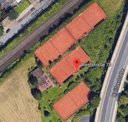 Luftbild der Tennisplätze